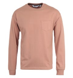 Uniform Bridge Heavyweight Pocket Long Sleeve Pink T-Shirt