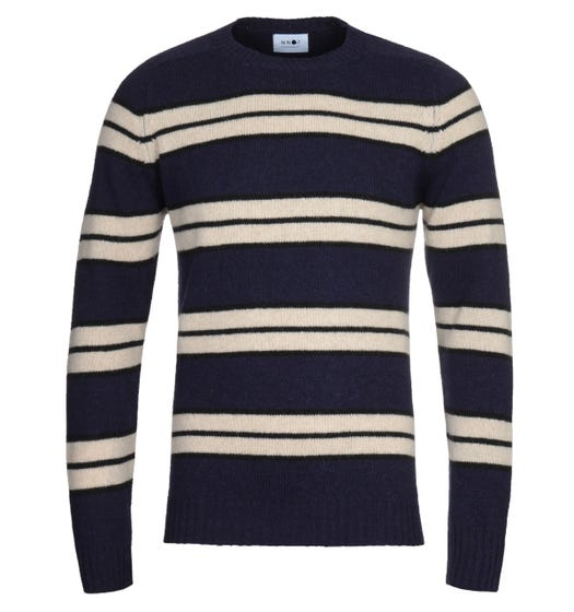 NN07 Nathan 6212 Navy Stripe Wool Sweater
