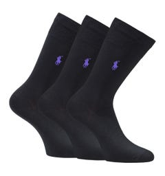 Polo Ralph Lauren Classic Logo 3 Pack Black Socks