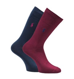 Polo Ralph Lauren Classic Logo 2 Pack Navy & Wine Socks