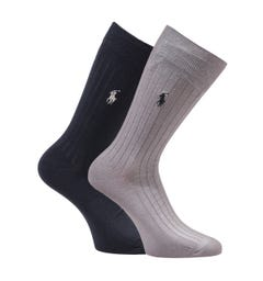 Polo Ralph Lauren Egyptian Cotton 2 Pack Black & Grey Socks