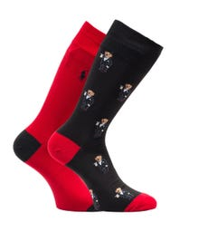 Polo Ralph Lauren 2 Pack Red & Black Bear Socks