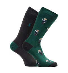 Polo Ralph Lauren 2 Pack Green & Black Bear Socks