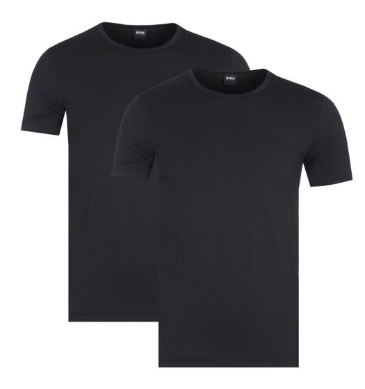BOSS Bodywear Black Stretch Cotton Crew Neck Slim Fit T-Shirts (2 Pack)