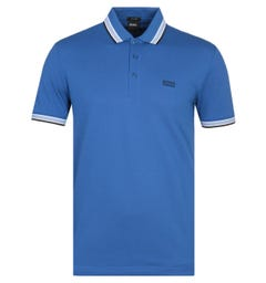 BOSS Paddy Tipped Blue Polo Shirt