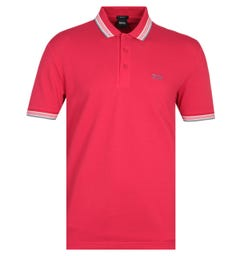 BOSS Paddy Tipped Red Polo Shirt