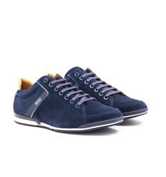 BOSS Saturn Lowp Dark Blue Suede Trainers