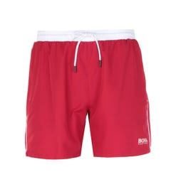 BOSS Bodywear Starfish Contrast Waistband Red Swim Shorts