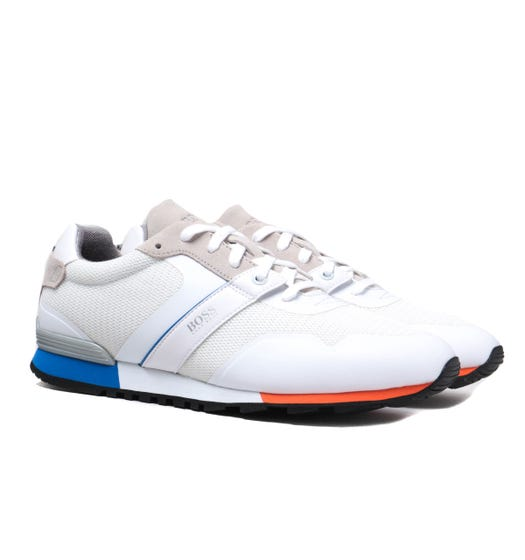 BOSS Parkour Runn White Suede & Mesh Trainers