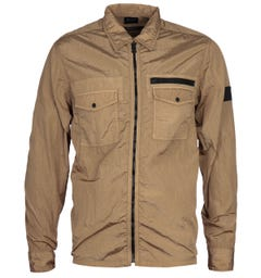 BOSS Lovel 3 Zip-Through Nylon Beige Overshirt