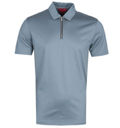 HUGO Dasili Zip Detail Stone Grey Polo Shirt