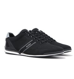 BOSS Saturn Low Knit Heel Logo Black Trainers
