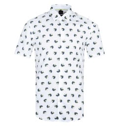 BOSS Ronn Palm Print Short Sleeve White Shirt