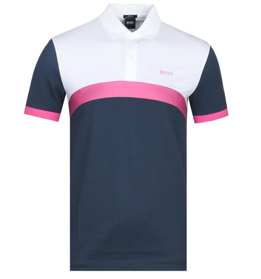 Boss Paule 3 Colourway Contrast Panel White & Navy Polo Shirt
