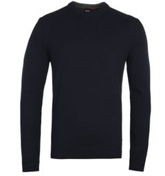 BOSS Kontreal Dark Navy Crew Neck Knit Sweater