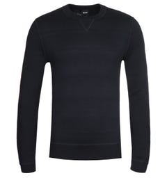 BOSS Mateo Reversible Crew Neck Dark Blue Sweater