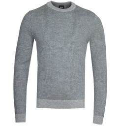 BOSS Maddeo Micro Houndstooth Grey Check Sweater