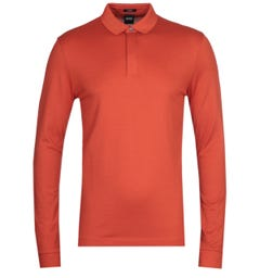 BOSS Pleins Long Sleeve Orange Pique Polo Shirt
