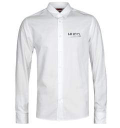 HUGO Emero Tape Logo Straight Fit White Long Sleeve Shirt