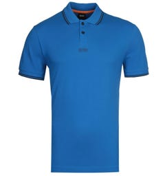 BOSS PChup Contrast Tipped Blue Polo Shirt