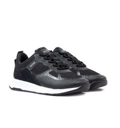 BOSS Titanium Contrast Panel Black Trainers
