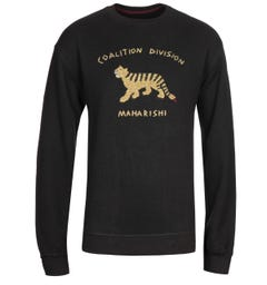 Maharishi Organic Embroidered Black Crew Neck Sweatshirt