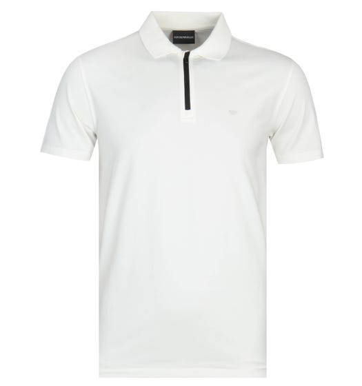 Emporio Armani White Zip Polo Shirt
