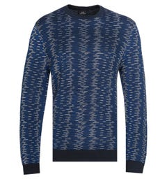 Armani Exchange Pullover Crew Neck Tonal Blue Sweater