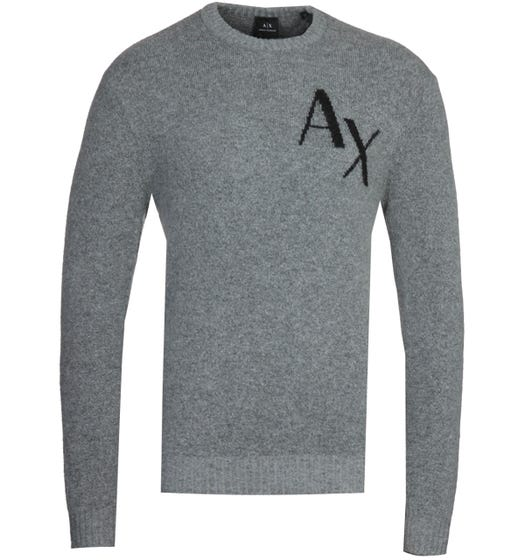 Armani Exchange AX Logo Grey Knitted Sweater