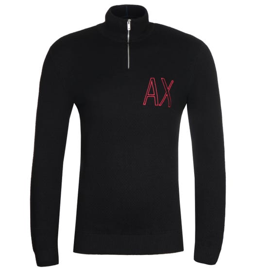 Armani Exchange Half Zip AX Black Sweater