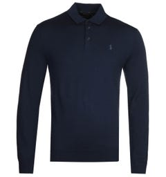 Polo Ralph Lauren Merino Navy Knitted Long Sleeve Polo Shirt