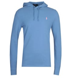 Polo Ralph Lauren Blue Pique Hooded Sweatshirt