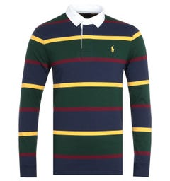 Polo Ralph Lauren Green Multi Striped Rugby Shirt