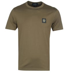 Belstaff Short Sleeve Khaki Green Logo T-Shirt