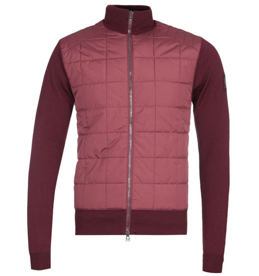 Belstaff New Kelby Merino Wool Red Zip Cardigan