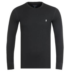 Polo Ralph Lauren Waffle Black Long Sleeve T-Shirt
