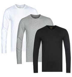 Polo Ralph Lauren 3 Pack Multi Long Sleeve Crew Neck T-Shirts
