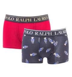 Polo Ralph Lauren 2 Pack Red & Bears Boxer Trunks