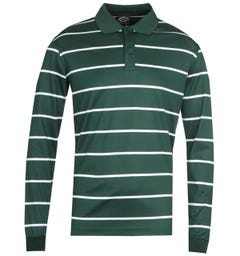 Paul & Shark Stripe Long Sleeve Green Polo Shirt