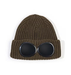 CP Company Green Knitted Goggle Beanie