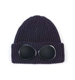 CP Company Navy Knitted Goggle Beanie