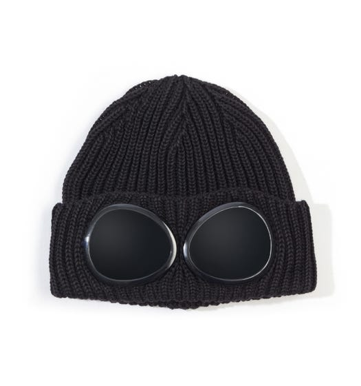 CP Company Black Knitted Goggle Beanie