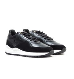 Android Homme Santa Monica Black Patent Suede Trainers