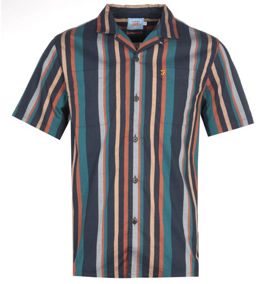 Farah Bloomfield Green Stripe Short Sleeve Shirt