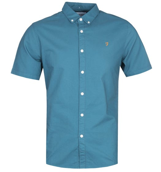 Farah Brewer Blue Short Sleeve Slim Fit Shirt