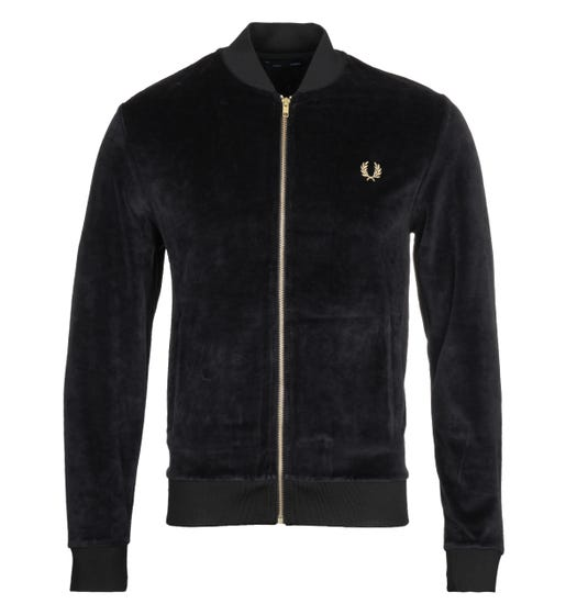 Fred Perry Black Velour Bomber Jacket