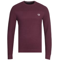 Fred Perry Textured Stripe Burgundy Sweater
