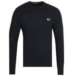 Fred Perry Textured Stripe Navy Sweatshirt