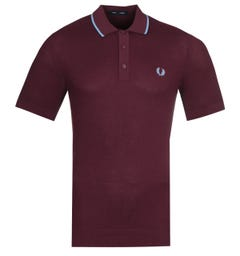 Fred Perry Tipped Knitted Maroon Polo Shirt