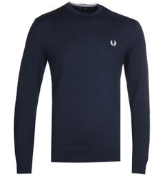 Fred Perry Classic Crew Neck Navy Sweater
